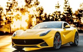 Picture trees, sunset, yellow, ferrari, Ferrari, yellow, Berlinetta, f12 berlinetta