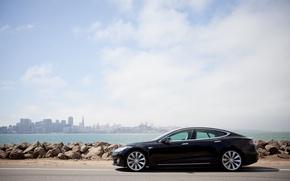 Picture stones, shore, Tesla, electric car, model s