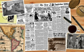 Picture desktop, old, map, compass, tablet, pics, newspaper