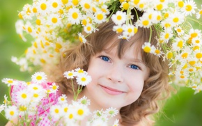 Picture girl, flowers, child, wreath, smile, blue-eyed