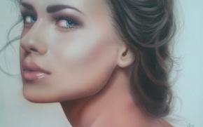 Picture look, girl, face, eyelashes, background, hair, art, lips, blue eyes, neck