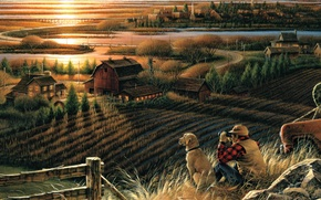 Picture field, autumn, sunset, bridge, river, home, dog, the evening, binoculars, painting, migratory birds, Best Friends, …