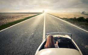 Picture road, girl, landscape, nature, car, journey