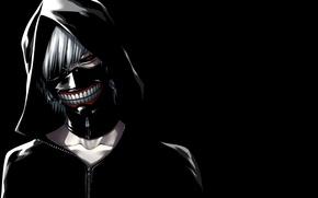 Picture mask, hood, guy, white hair, red eye, Tokyo Ghoul, Ken Kanek, Tokyo Ghoul, The Kaneko …
