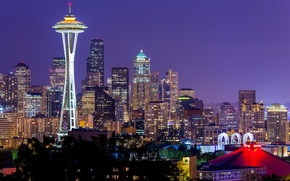 Wallpaper the sky, night, city, the city, lights, lights, Washington, Seattle, USA, USA, Space Needle, sky, ...