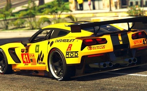 Picture yellow, Corvette, Chevrolet, day, back, GTA 5, 2015, C7R