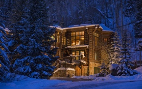 Picture forest, wooden, luxury, colorado, blue sky lodge