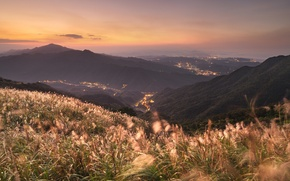 Picture places, mountains, landscapes, beautiful evening, China, view, city, grass, sunset