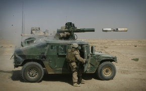 Wallpaper hummer, tow, soldiers, rocket
