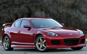 Wallpaper Road, Red, Trees, Mazda rx8