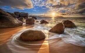 Picture sea, the sky, the sun, clouds, stones, dawn, coast, island, horizon, Indonesia, Indonesia, Borneo, Borneo