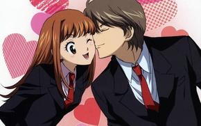 Picture costume, tie, hearts, two, art, wink, Naughty kiss, Will and Kiss, Kaoru Tada, smack, Kotoko …