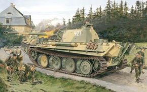 Picture Figure, Panther, Panther, PzKpfw V, German, Sd. Car. 171, Panzerkampfwagen V, Medium-heavy tank, Version G, …
