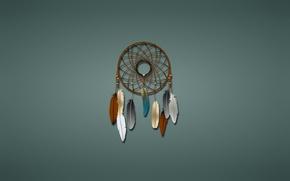 Picture mesh, round, minimalism, feathers, Dreamcatcher, Dreamcatcher