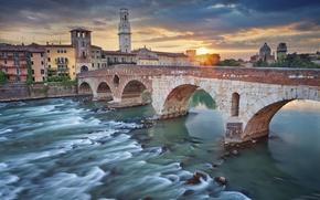 Picture bridge, river, tower, home, Italy, Verona