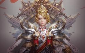 Picture art, helmet, crosses, crown, stars, girl, Queen, armor