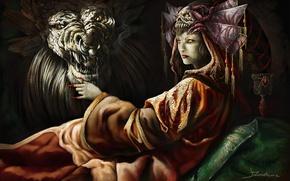 Picture girl, skull, monster, pillow, art, nails, Queen, headdress