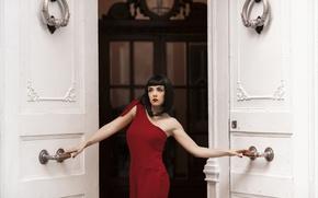 Wallpaper style, brunette, door, in red, girl