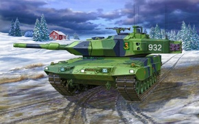 Picture war, art, painting, tank, LEOPARD 2 A5