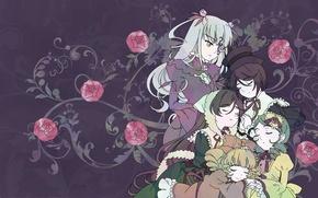 Picture pattern, sleep, rozen maiden, red roses, kirakishou, souseiseki, hinaichigo, suiseiseki, kanaria