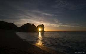 Picture sea, beach, sunset, coast, arch, england, durdle door