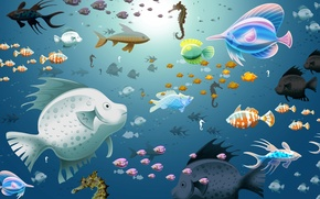 Picture water, fish, blue, aquarium, sea