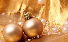 Wallpaper balls, New Year, beads, holidays, winter, Christmas, toys, decoration, New Year, Christmas, gold, Christmas, the ...