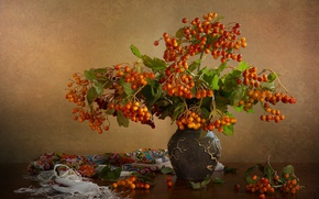 Picture branches, berries, vase, shawl, Kalina