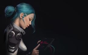 Picture girl, fiction, wire, art, device, costume, profile, sci-fi