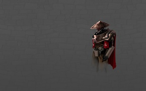 Wallpaper red, minimalism, the Soviet Union, dark grey background, cyborg, cloak, the hammer and sickle