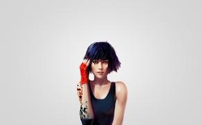 Picture girl, art, Mirror's Edge, Faith, Faith, red glove, Mirror face