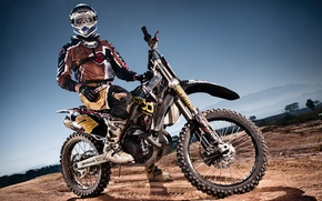 Picture shadow, wheel, motorcycle, helmet, pilot, motocross, racing track, extreme sports