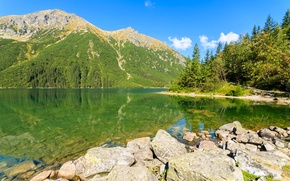Wallpaper reflection, mountains, Tatra Mountains, trees, shore, lake, water, Poland, the sun, the sky, stones