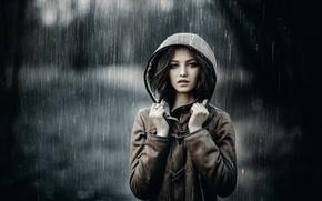 Picture look, girl, drops, rain, model, ring, hood, brown hair, beautiful, the beauty, weather, beauty, bokeh, …