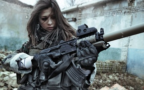 Wallpaper weapons, KLGR, war, beautiful, Stalker, KILLGORE, girls, eyes