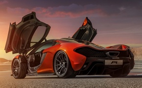 Picture Concept, orange, background, McLaren, door, the concept, supercar, rear view, McLaren