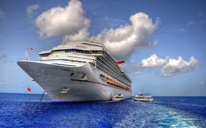 Picture sea, ship, cruise, clouds, the sky, liner