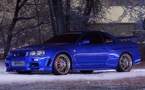 Picture Nissan, Skyline, snow, GT-R34, Turbonetics