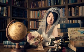 Picture look, girl, style, mood, books, bouquet, phone, library, Asian, the bride, veil, globe