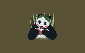 Picture black and white, bamboo, watermelon, Panda, joker
