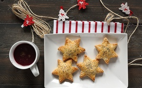 Picture stars, table, Mac, cookies, Cup, drink, stars, cakes, Christmas