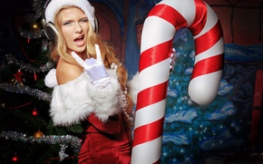 Picture joy, holiday, toys, new year, headphones, maiden, tree, tinsel, holidays, fiesta, New year, Snow maiden
