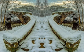 Picture winter, frost, the sky, snow, trees, river, stone bridge