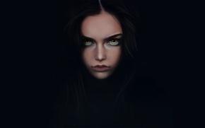 Picture girl, minimalism, art, black background