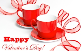 Wallpaper Valentine's day, tape, saucers, Cup, red