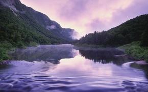 Wallpaper dawn, reflection, mountains, calm, purple, Canada, river, forest, rasvet, River, fog, Quebec, QC, Canada, water ...