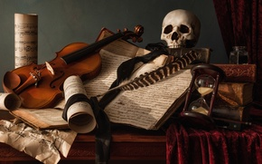 Picture notes, pen, violin, books, skull, still life, hourglass, the manuscript
