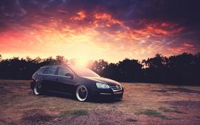 Picture the sky, the sun, sunset, Volkswagen, Blik, Golf, Golf, Volkswagen, Type 1K, 5-door