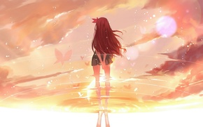 Picture water, girl, the sun, drops, butterfly, reflection, anime, art, kantai collection, joseph lee, kisaragi