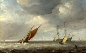 Picture sea, wave, the sky, landscape, the wind, boat, ship, picture, sail